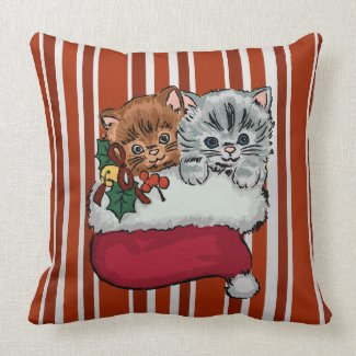 Cute Kittens in a Christmas Stocking Throw Pillows