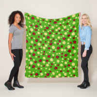 cute ladybug and daisy flower pattern green fleece blanket