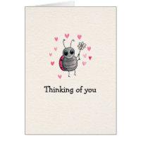 Cute Ladybug and Daisy Thinking of you Card
