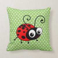 Cute Ladybug Polka Dots Green & Red Cushion