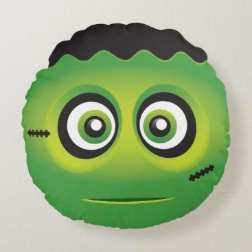Cute lil' green monster emoji round pillow