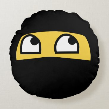 Cute Lil' Ninja emoji Round Pillow
