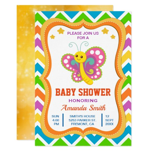 Cute Little Butterfly Baby Shower Invitation
