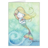 Cute Little Mermaid Card by Molly Harrison