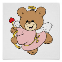 cute little valentine cupid teddy bear design poster