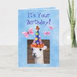 ❤️ Cute Llama and Butterflies Birthday Card