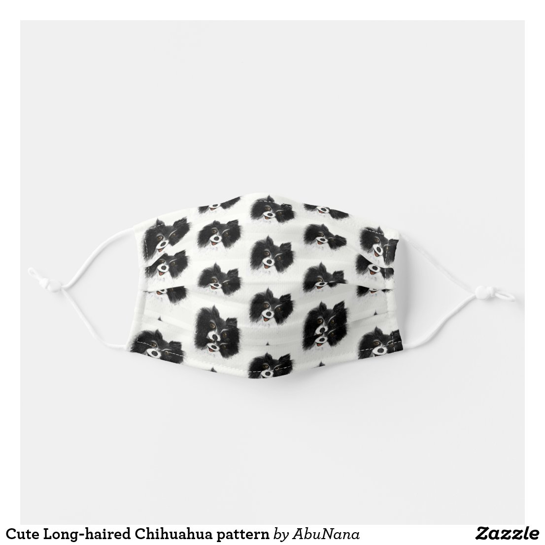 Cute Long-haired Chihuahua pattern Cloth Face Mask
