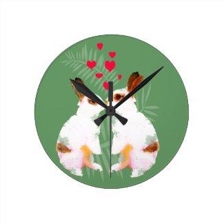 Cute love rabbits wall clocks