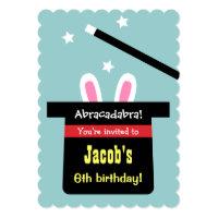 Cute Magic Hat Bunny Birthday Party Invitations