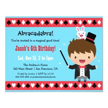 Cute Magician Kids Magic Birthday Party Card
