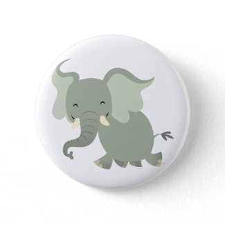 Cute Merry Cartoon Elephant Button Badge button