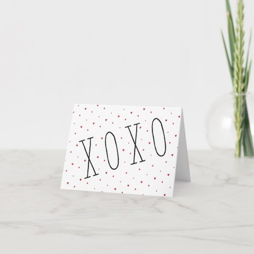 Cute Modern Hearts XOXO Valentine's Day Note Card