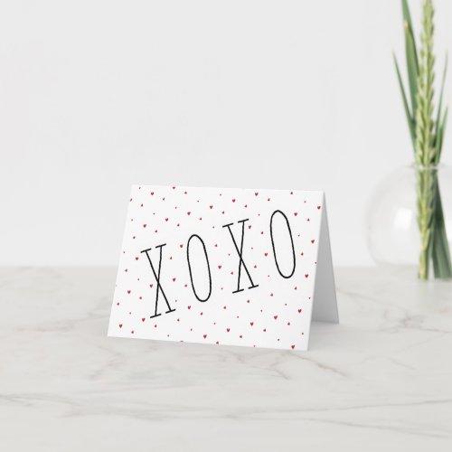 Cute Modern Hearts XOXO Valentine's Day Note Card