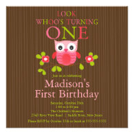 Cute Modern Owl 1st Birthday Party Invitations
