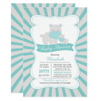 Cute Mom and Baby Hippo Boys Baby Shower Card