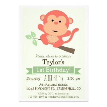 Cute Monkey, Jungle Animal Kid's Birthday Party Invitation