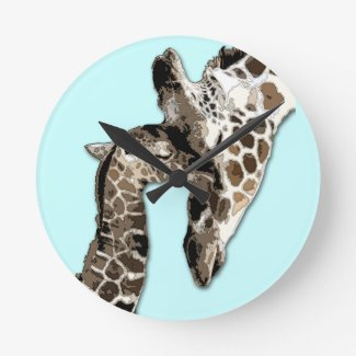 Cute mother and baby giraffe clocks