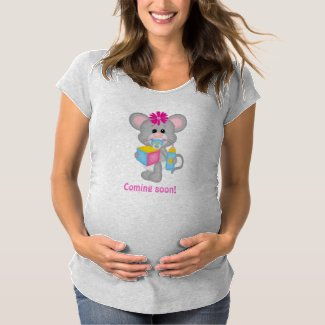 Cute Mother Baby Expecting Girl Mouse T Shirt