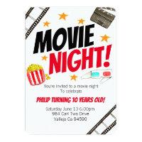 Cute movie night movie birthday party invite