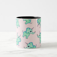Cute Mythical Girly Unicorn Elephants and Hearts Two-Tone Coffee Mug