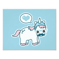 Cute Nerd Unicorn Birthday Party Invitations