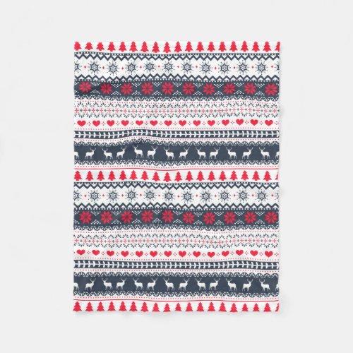 Cute Nordic Folk Holidays Navy Red Pattern Custom Fleece Blanket