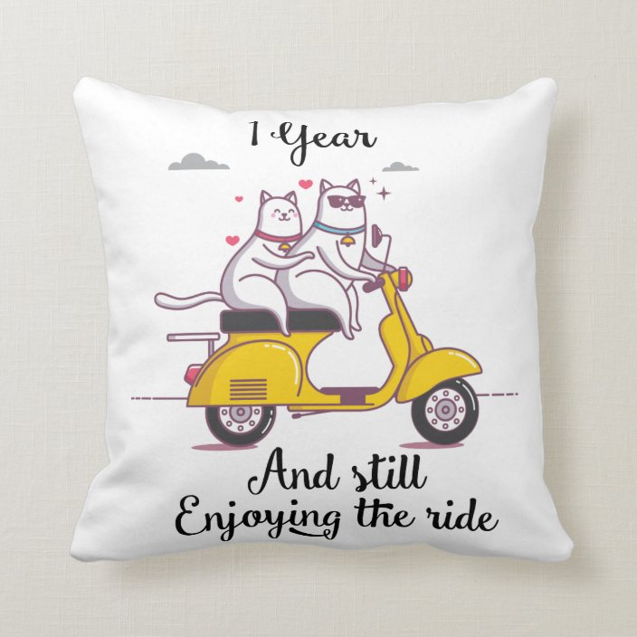 Cute One Year Anniversary Gift For Him Her Throw Pillow Zazzle Com
