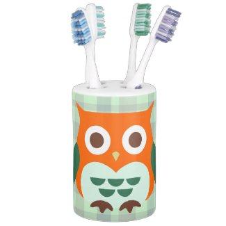 Cute Orange Owl Soap Dispenser And Toothbrush Holder