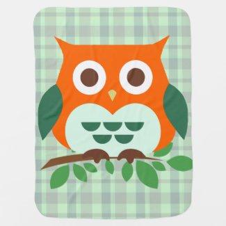 Cute Orange Owl Stroller Blanket