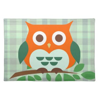 Cute Owl on a Branch Placemat