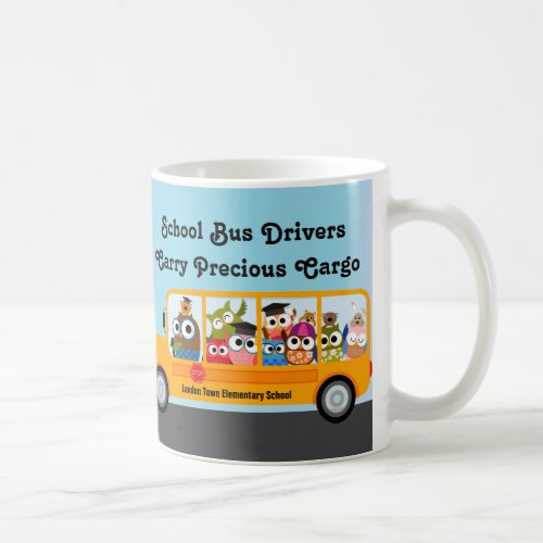 Cute Owl School Bus Driver Appreciation Thank You Coffee Mug