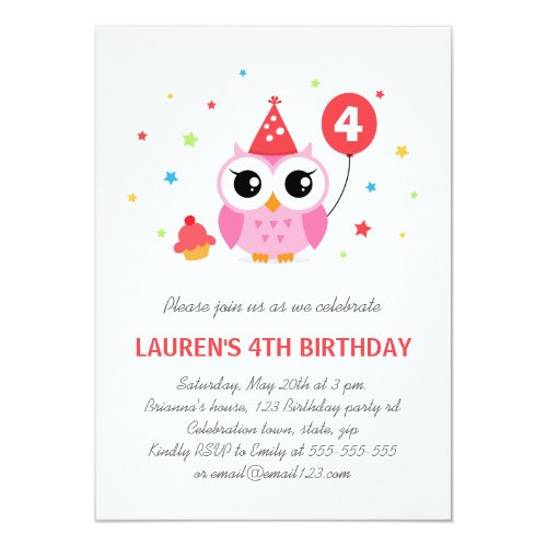 Cute party owl with balloon and cupcake birthday invitation
