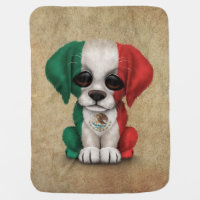 Cute Patriotic Mexican Flag Puppy Dog, Rough Swaddle Blanket