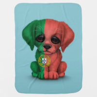 Cute Patriotic Portuguese Flag Puppy Dog, Blue Baby Blanket