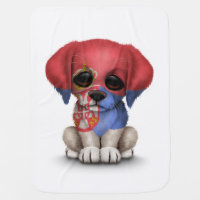 Cute Patriotic Serbian Flag Puppy Dog, White Stroller Blanket
