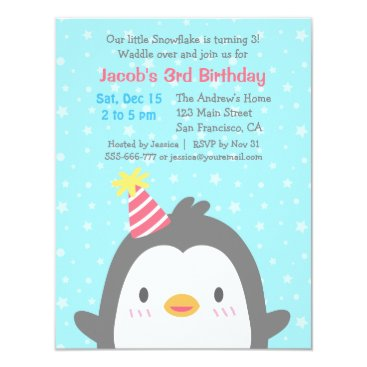Cute Penguin December Birthday Party Invitations
