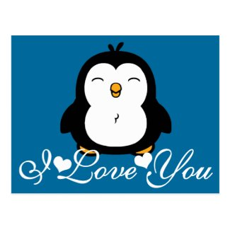 Cute Penguin I Love You Postcard