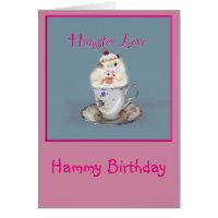 Cute Personalized Syran Hamster cupcakes Birthday Card