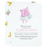 Cute Pig | It's a Girl Baby Shower Card