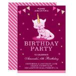 Cute Pink Unicorn Cat Birthday Party Invitation