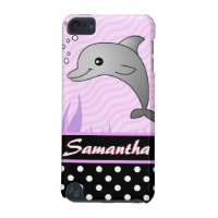 Cute Pink Dolphin Black Polka Dot Custom Name iPod Touch 5G Cover