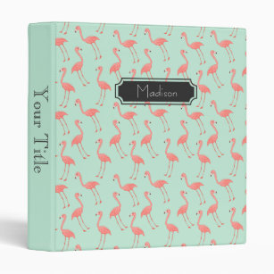 cute pink flamingo pattern add your name binder