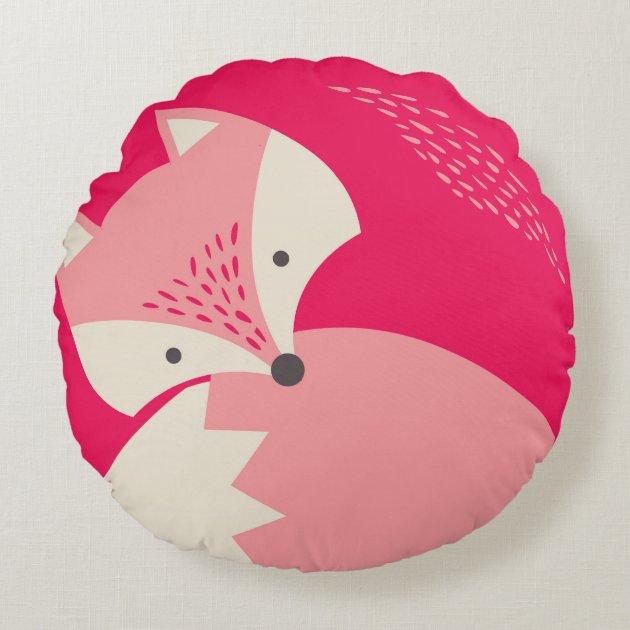 Cute Pink Fox Cartoon Round Pillow For Kids