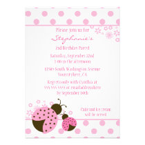 Cute pink lady bug girls birthday party invitation