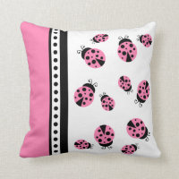 Cute Pink Ladybugs Pillow