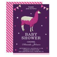 Cute Pink Llama Baby Shower Invitation
