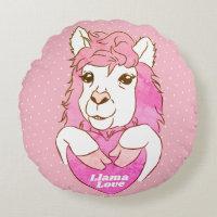 Cute Pink Llama Sketch & Polka Dots Llama Love Round Pillow
