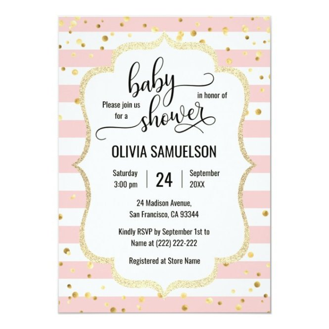 Cute Pink White Stripes Gold Black Baby