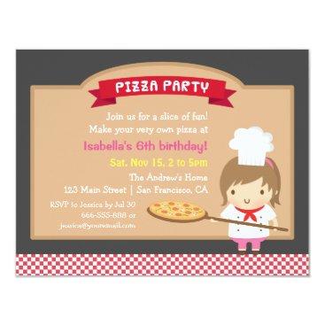 Cute Pizza Chef Girl Birthday Party Invitations