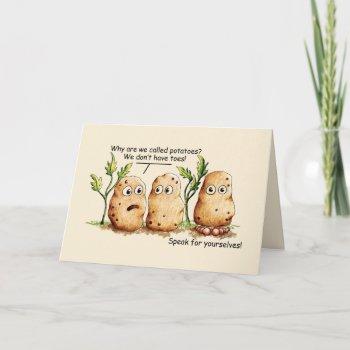 Cute Potatoes has Toes Funny Potato Pun Card